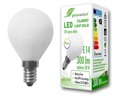 greenandco® E14 G45 LED Filament Bulb frosted 3W (replaces 34W) 380lm 2700K (warm white) 360° beam angle 230V AC glass bulb