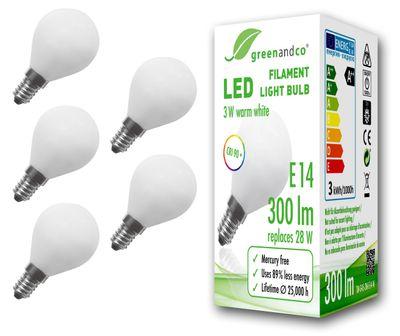 CRI 90+ Glühfaden LED Lampe ersetzt 28 Watt E14 G45 Globe matt, 3W 300lm 2700K warmweiß 360° 230V AC, nicht dimmbar, flimmerfrei, 2 Jahre Garantie – Bild 2