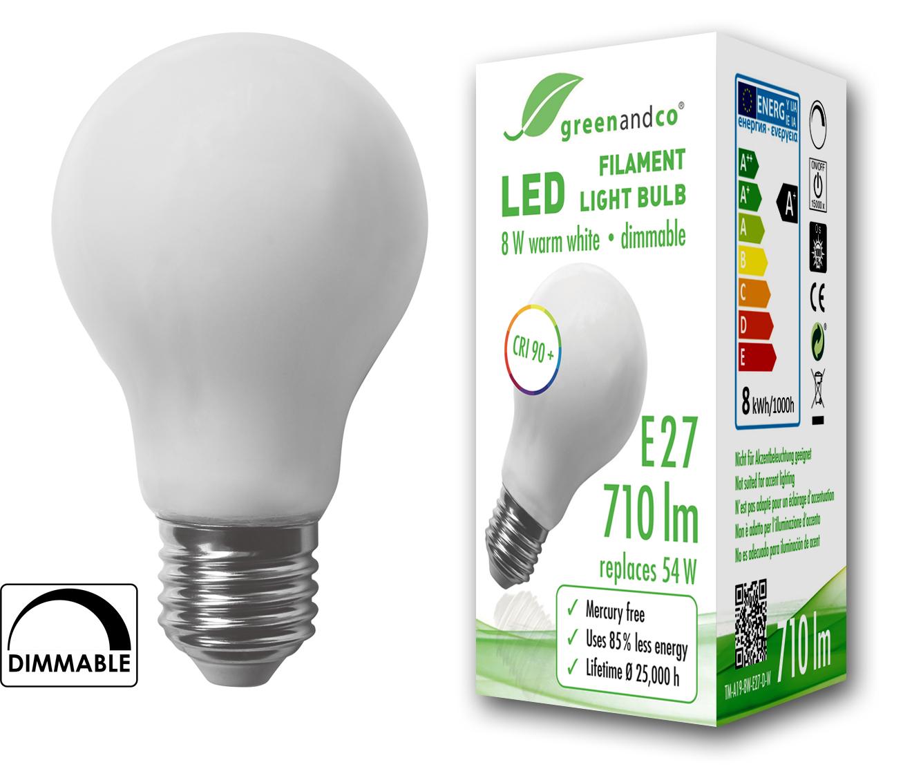 Hochwertig LED Lampe Dimmbar Ersetzt 70W E27 Matt 8W 1000lm 2700K Warmweiß 360° 230V 2  Jahre Garantie