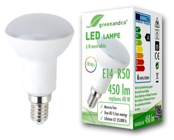 greenandco® R50 E14 LED Bulb 5W replaces 35W 410lm 3000K (warm white) 180° beam angle 230V AC, not dimmable 001