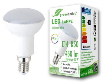 CRI 90+ LED Lampe ersetzt 40 Watt R50 E14 matt, 6W 450lm warmweiß 160° 230V AC, flimmerfrei, nicht dimmbar, 2 Jahre Garantie