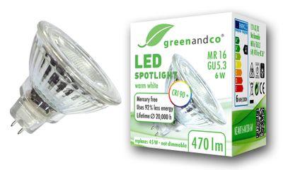 CRI90+ LED Spot ersetzt 45W GU5.3 MR16 6W 470lm 3000K warmweiß 36° 12V AC/DC, nicht dimmbar, 2 Jahre Garantie
