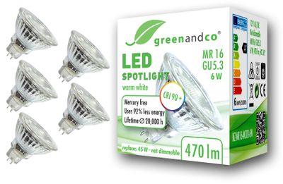 CRI90+ LED Spot ersetzt 45W GU5.3 MR16 6W 470lm 3000K warmweiß 36° 12V AC/DC, nicht dimmbar, 2 Jahre Garantie – Bild 2