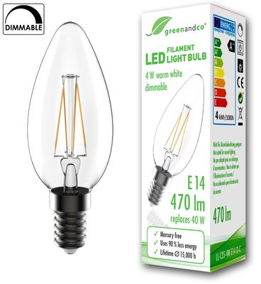 greenandco® dimmable E14 LED Filament Bulb 4W (replaces 40W) 470lm 2700K (warm white) 360° 230V glass bulb, no flicker