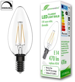 greenandco® dimmable E14 LED Filament Bulb 4W (replaces 40W) 470lm 2700K (warm white) 360° 230V glass bulb, no flicker 001