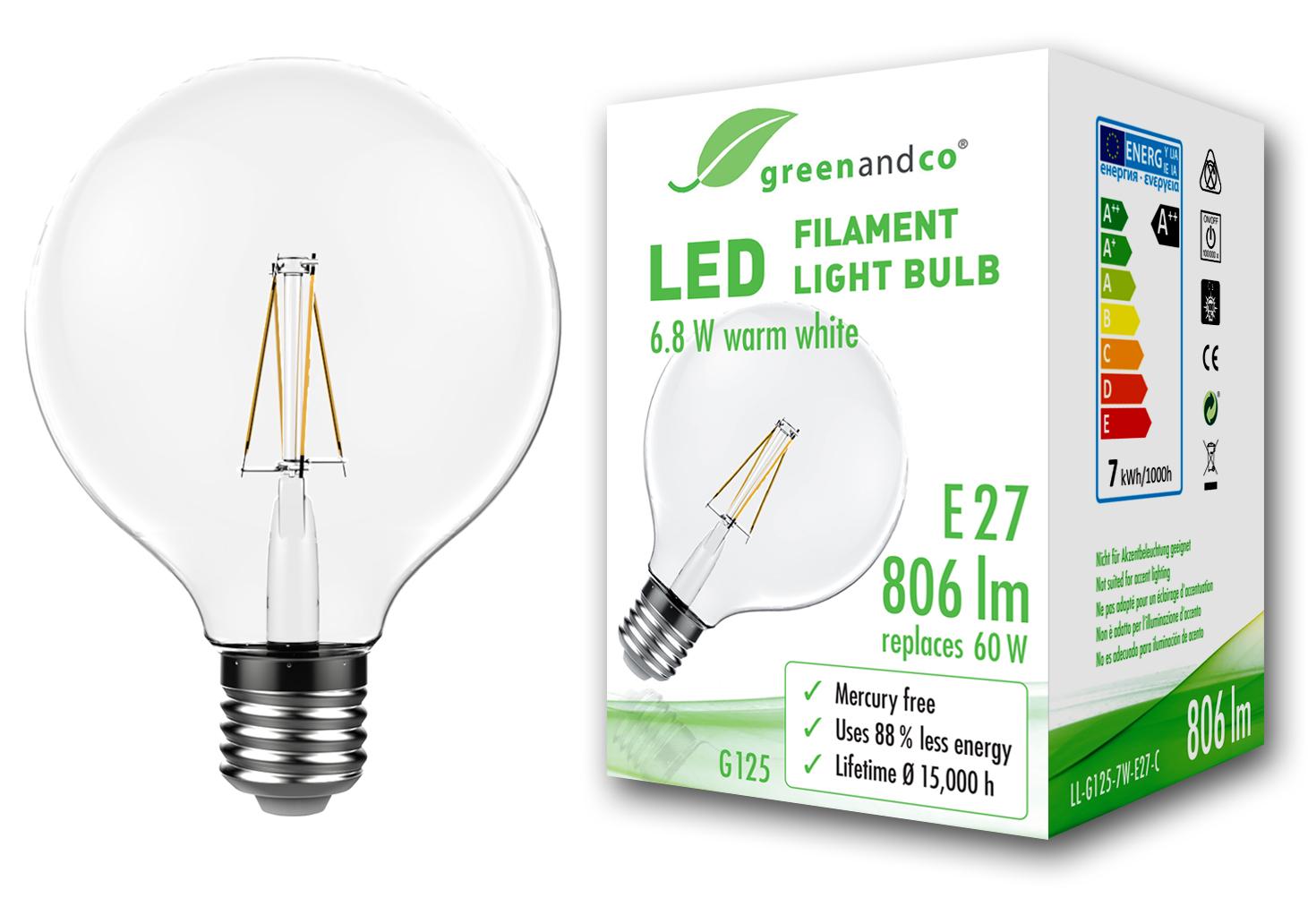 Glühfaden LED Lampe Globe ersetzt 60W E27 G125 6.8W 806lm 2700K ...
