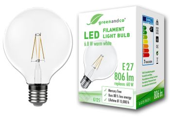 greenandco® E27 G125 LED Vintage Filament Bulb 6.8W (replaces 60W) 806lm 2700K (warm white) 360° 230V glass bulb, no flicker, not dimmable