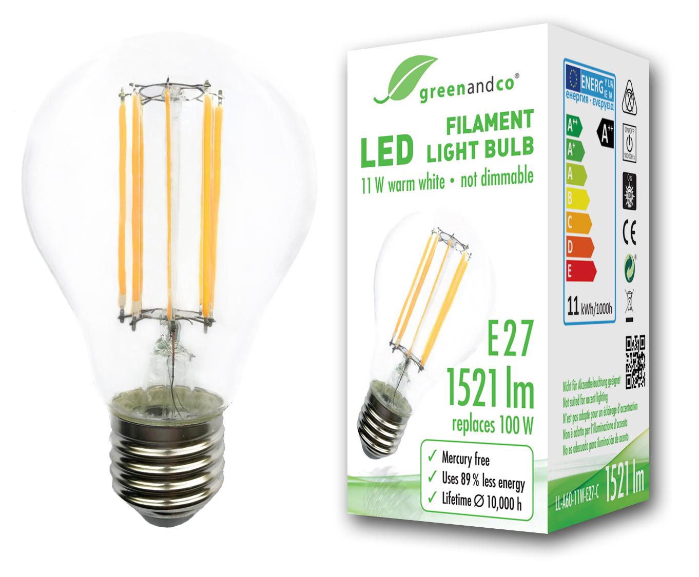 Glühfaden LED Lampe ersetzt 100W E27 11W 1521lm 2700K warmweiß 360 ...