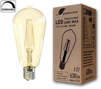 Vintage Glühfaden LED Lampe dimmbar ersetzt 50W E27 ST64 6.8W 638lm 2200K extra warmweiß 360° 230V 2 Jahre Garantie – Bild 1