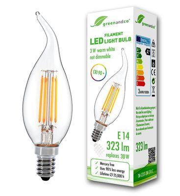 CRI90+ Glühfaden LED Kerze ersetzt 30W E14 3W 323lm 2700K warmweiß 360° 230V flimmerfrei, nicht dimmbar, 2 Jahre Garantie – Bild 2