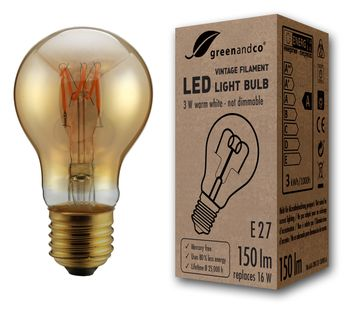 greenandco® E27 LED Vintage Filament Bulb 3W (replaces 16W) 150lm 2000K (extra warm white) 360° 230V glass bulb, no flicker, not dimmable