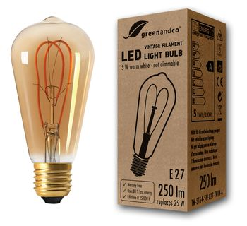 Bombilla de filamento LED greenandco® Vintage E27 ST64 5W (corresponde a 25W) 250lm 2000K (blanco cálido) 360° 230V vidrio, sin parpadeo, no regulable