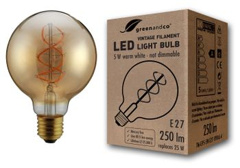 greenandco® E27 G95 LED Vintage Filament Bulb 5W (replaces 25W) 250lm 2000K (extra warm white) 360° 230V glass bulb, no flicker, not dimmable