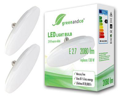 LED Lampe UFO ersetzt 130W E27 matt 24W 2080lm 3000K warmweiß 180° 230V nicht dimmbar 2 Jahre Garantie – Bild 2