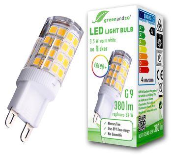 CRI90+ LED Lampe flimmerfrei ersetzt 32W G9 3,5W 380lm 3000K warmweiß 300° 230V, nicht dimmbar, 2 Jahre Garantie