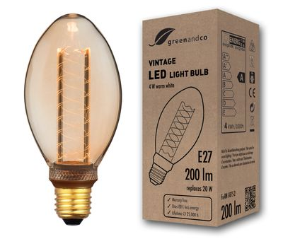 greenandco® E27 ST64 LED Vintage Filament Bulb 5W (replaces 25W) 250lm 2000K (extra warm white) 360° 230V glass bulb, no flicker, not dimmable
