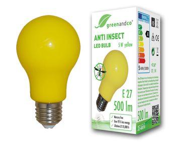 Anti-Insekten LED Glühbirne E27, zur wirkungsvollen Abwehr von Stechmücken und Mosquitos und als Stimmungsbeleuchtung, gelb 001