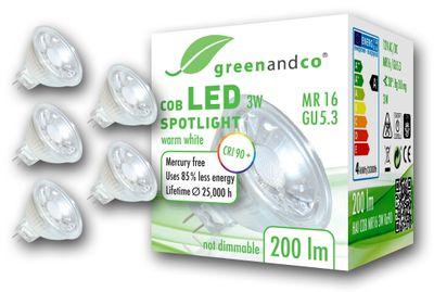 LED Spot CRI 90+ ersetzt 20W GU5.3 MR16 3W 200lm 2700K warmweiß 38° 12V AC/DC nicht dimmbar 2 Jahre Garantie – Bild 3