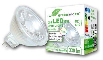 LED Spot CRI 90+ ersetzt 30W GU5.3 MR16 5W 330lm 3000K warmweiß 38° 12V AC/DC nicht dimmbar 2 Jahre Garantie