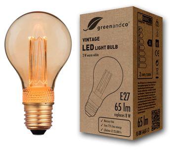 Vintage Design LED Lampe zur Stimmungsbeleuchtung E27 A60 Edison Glühbirne 2W 65lm 1800K extra warmweiß 320° 230V flimmerfrei nicht dimmbar 2 Jahre Garantie