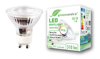 greenandco® LED spot replaces 40-50 Watt GU10 halogen spotlight, 7W 510 lumen 3000K warm white SMD LED 50° 230V AC glass with protective cover, not dimmable