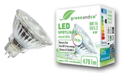 greenandco® CRI90+ 4000K LED Spot ersetzt 45 Watt GU5.3 MR16 Halogenstrahler, 6W 470 Lumen neutralweiß SMD LED Strahler 36° 12V AC/DC Glas mit Schutzglas, nicht dimmbar, 2 Jahre Garantie – Bild 1