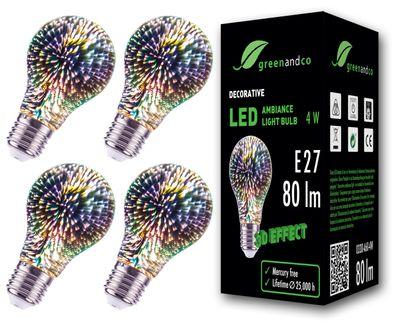 Designer LED Lampe mit 3D Feuerwerks-Effekt zur dekorativen Stimmungsbeleuchtung E27 A60 Edison Glühbirne 4W 80lm 230V flimmerfrei nicht dimmbar 2 Jahre Garantie – Bild 2