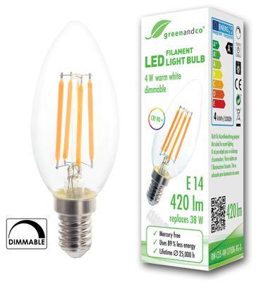 CRI 90+ Glühfaden LED Kerze dimmbar flimmerfrei E14 4W ersetzt 38W 420lm 2700K warmweiß 320° 230V 2 Jahre Garantie – Bild 2
