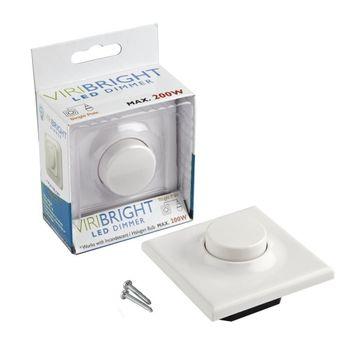Viribright LED Dimmer 220V AC, 1A, max. 200W - stufenloser Helligkeitsregler für LED Leuchtmittel, weiß