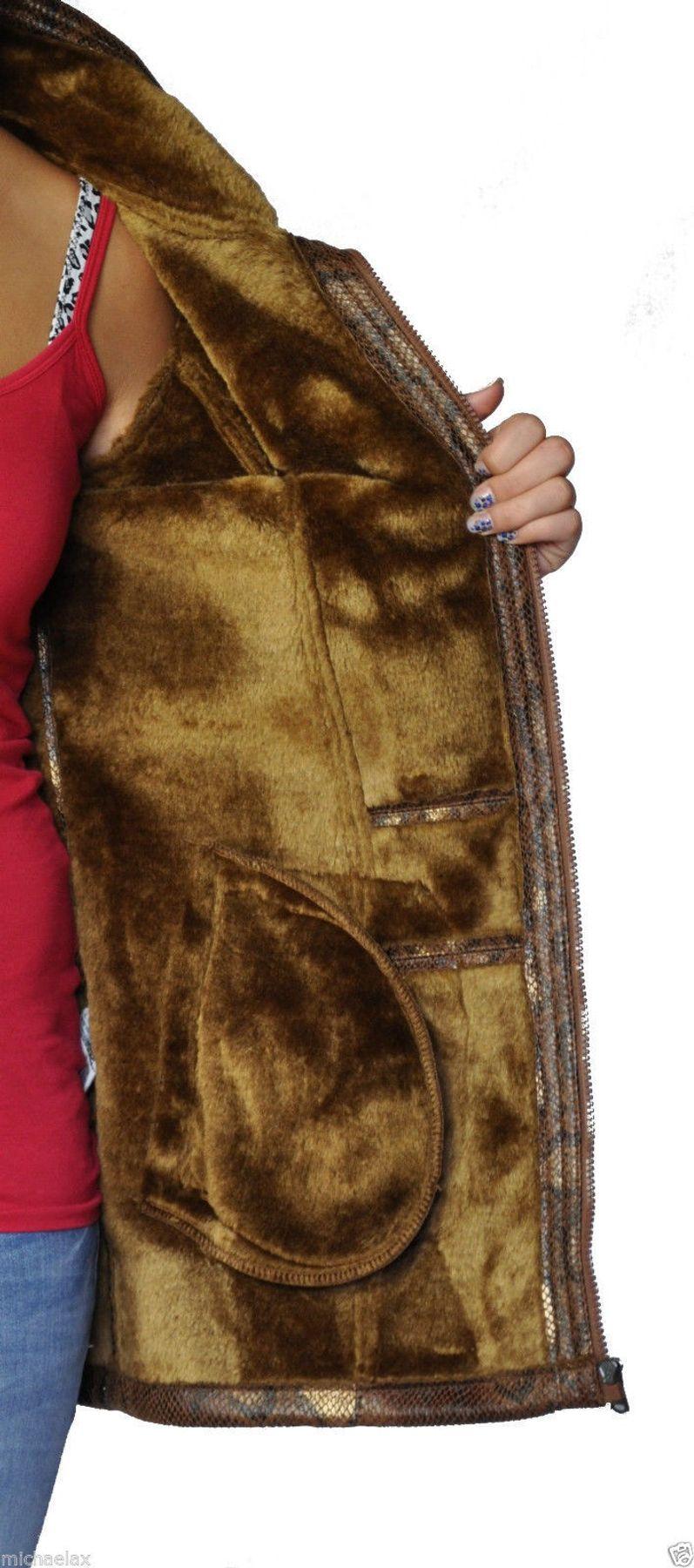 Damen Webpelz Jacke in Snakeprint, Farbe braun Artikel Oriane – Bild 2