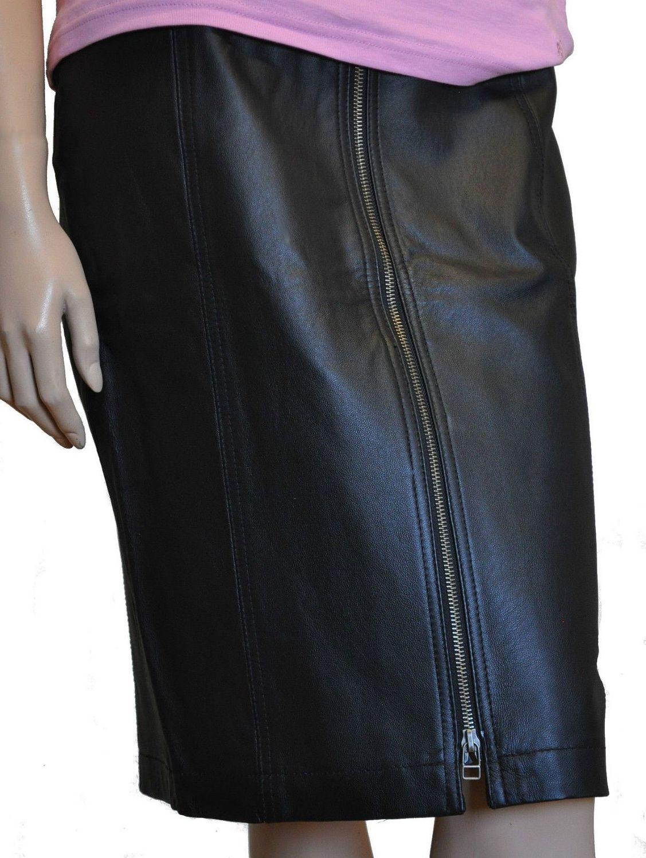 Damen Leder Rock schwarz mit Reißverschluss Größe 36-52 001