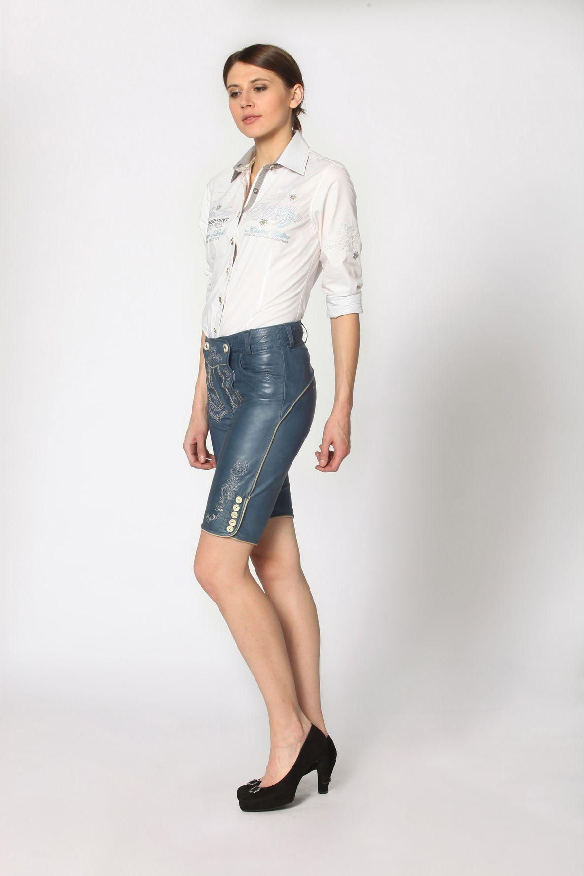 Stockerpoint - Damen Trachten Lederhose aus Ziegen Nappa Leder, Knielang,  Pam – Bild 13