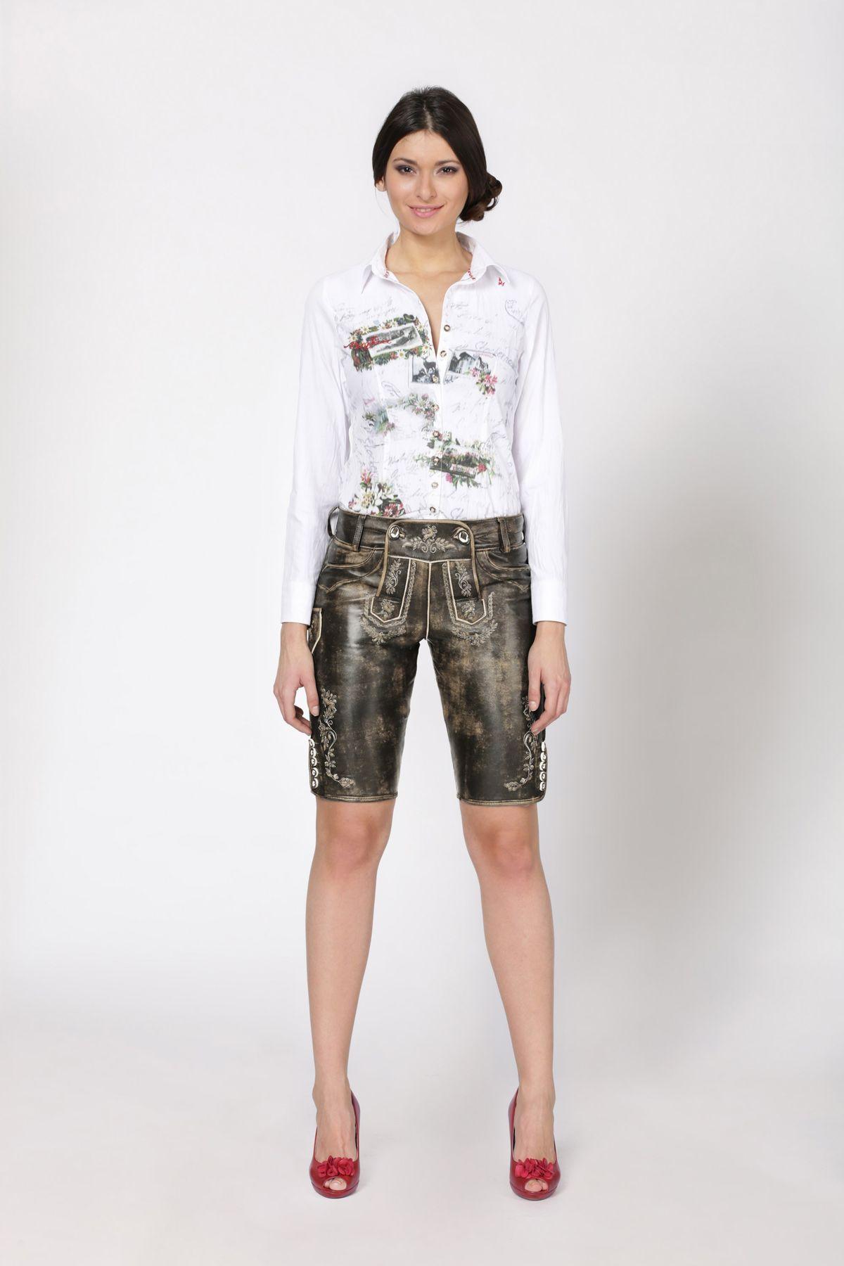 Stockerpoint - Damen Trachten Lederhose aus Ziegen Nappa Leder, Knielang,  Pam – Bild 17