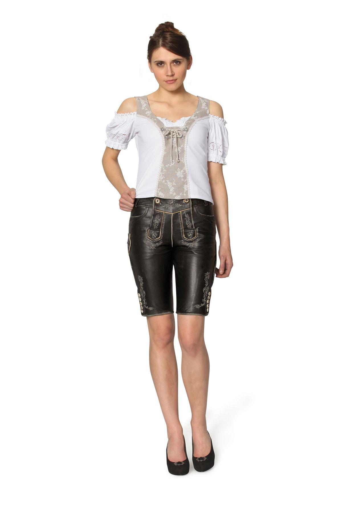 Stockerpoint - Damen Trachten Lederhose aus Ziegen Nappa Leder, Knielang,  Pam – Bild 2