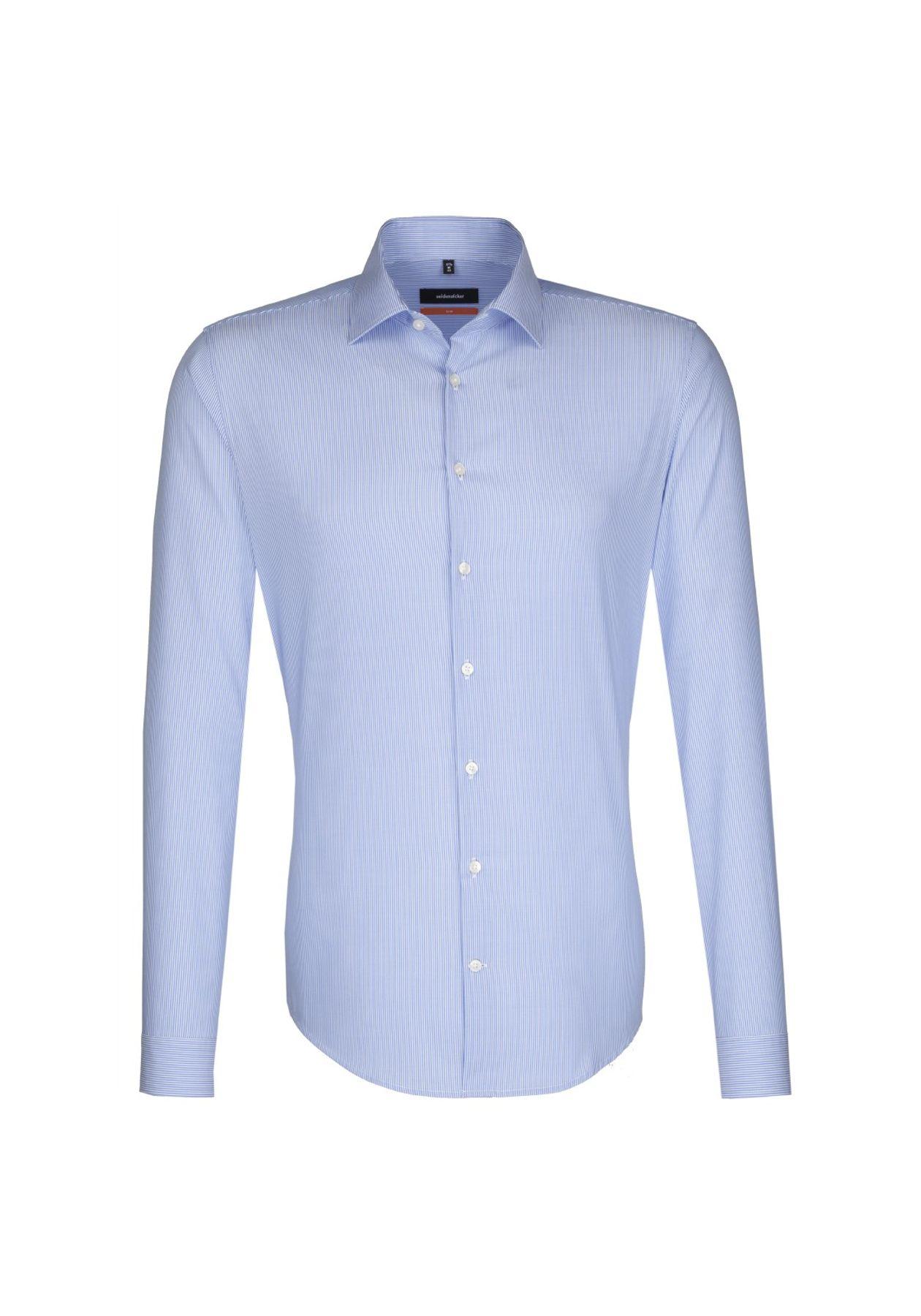 Seidensticker - Herren Hemd, Bügelfrei, Slim, Schwarze Rose mit Kent Kragen in Blau (01.676140) – Bild 1