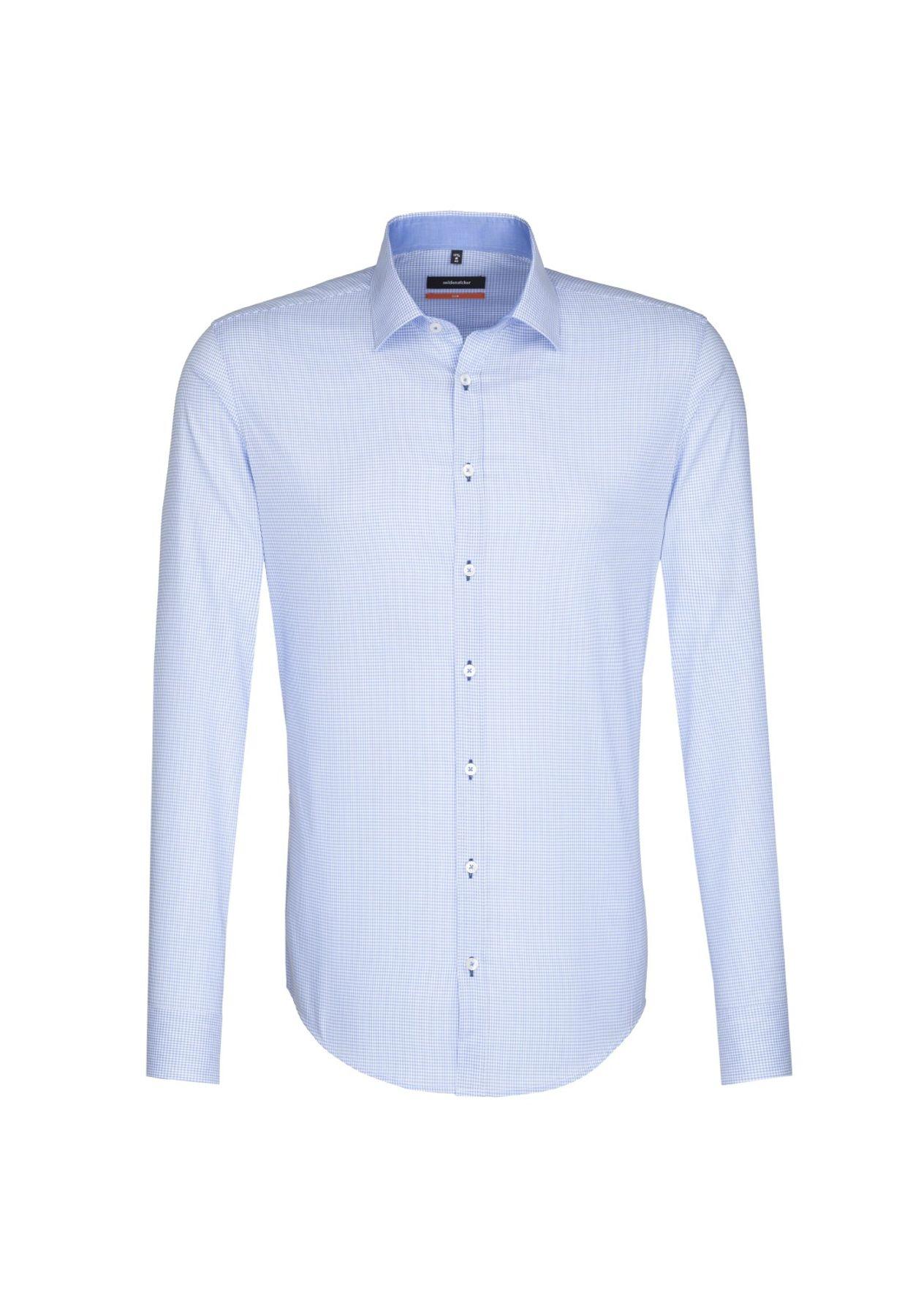 Seidensticker - Herren Hemd, Bügelfrei, Slim, Schwarze Rose mit Kent Kragen in Blau (01.676126) – Bild 1