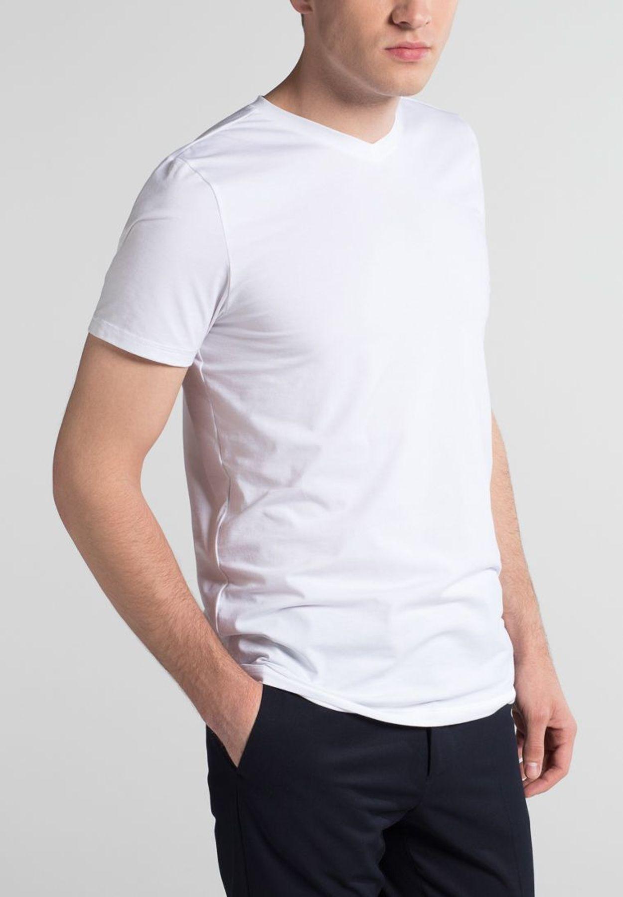 Eterna - Herren Bodyshirt mit V-Ausschnitt in schwarz und weiß (800) – Bild 5