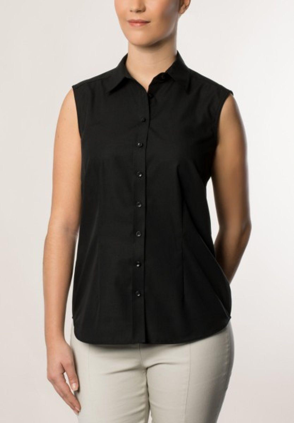 Eterna -  Comfort-Fit - Bügelfreie Damen Bluse ohne Arm in Weiß oder Schwarz (5220 A670) – Bild 3