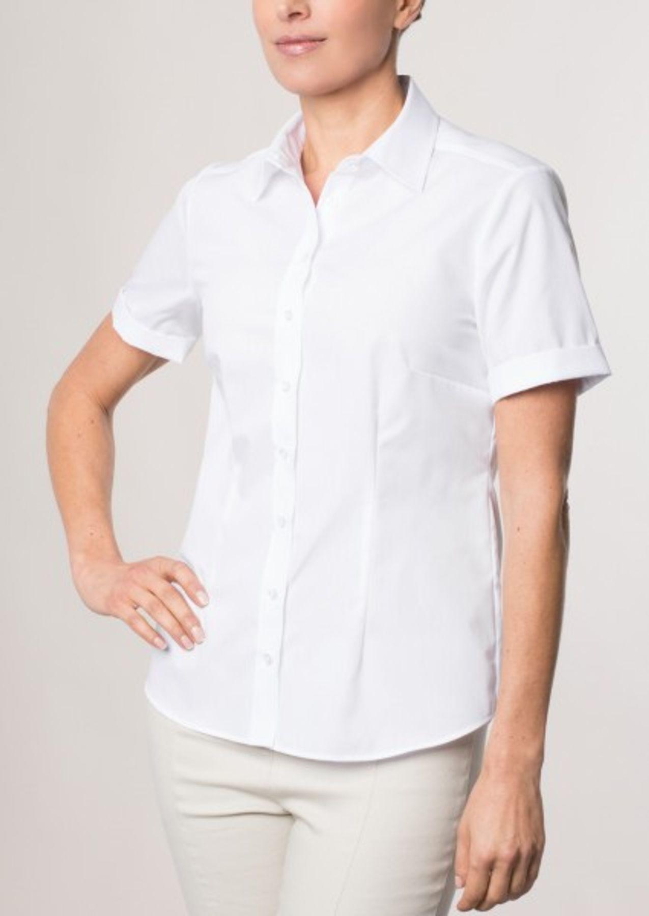 Eterna -  Comfort-Fit - Bügelfreie Damen Halbarm - Bluse in Blau, Weiß oder Schwarz (5220 H670) – Bild 6