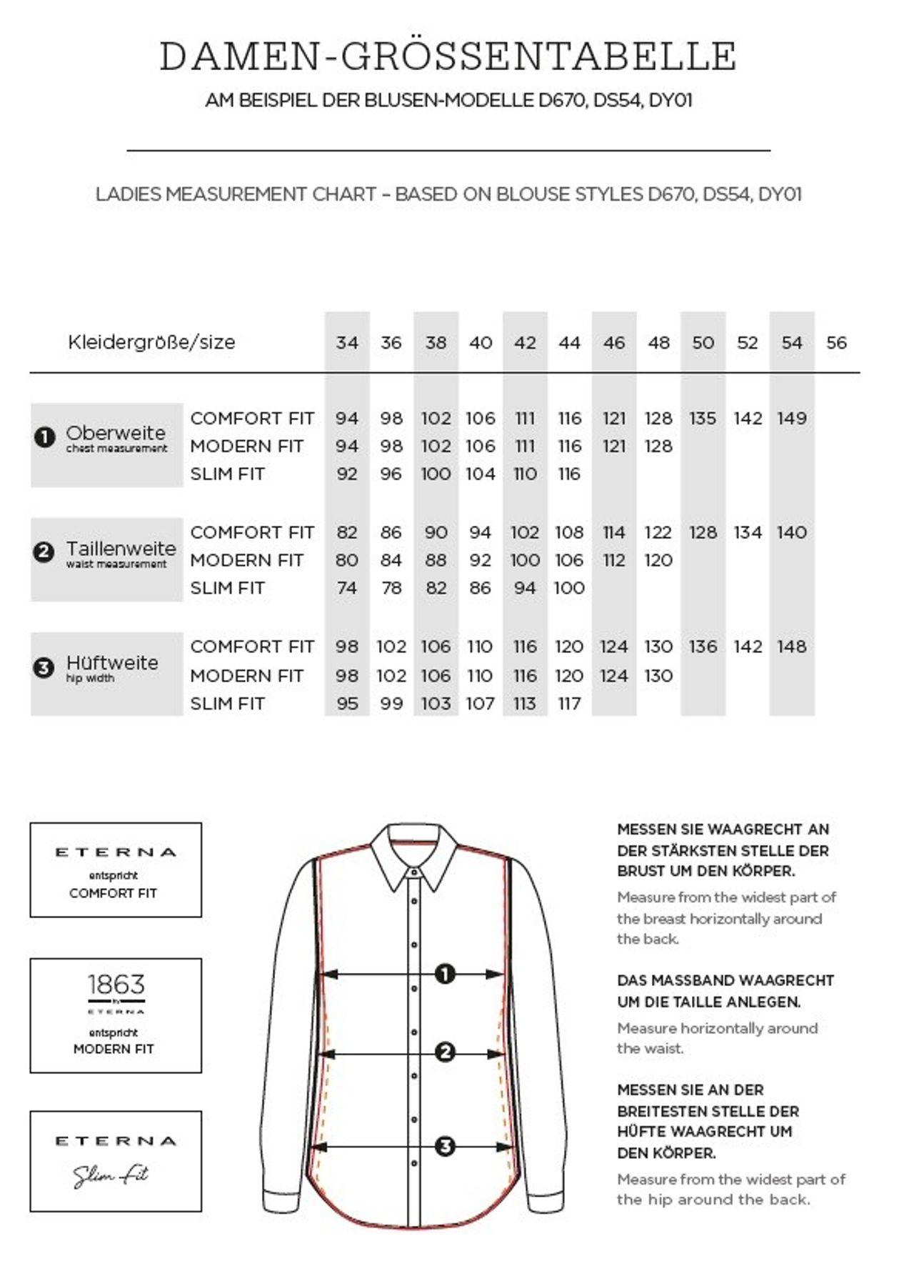 Eterna -  Comfort-Fit - Bügelfreie Damen Langarm - Bluse in Weiß, Blau, Rosè oder Schwarz (5220 D670) – Bild 18