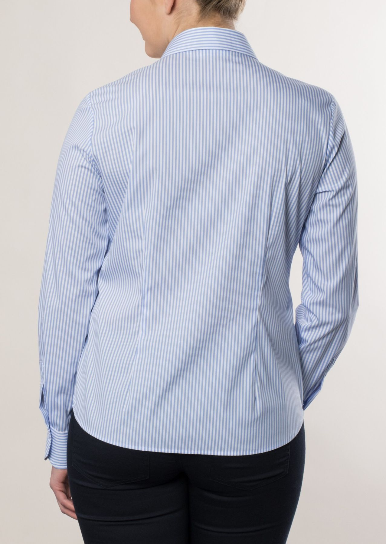 Eterna -  Comfort-Fit - Damen Langarm Bluse in Dunkelblau/ Weiß gestreift  (6017 D390) – Bild 6
