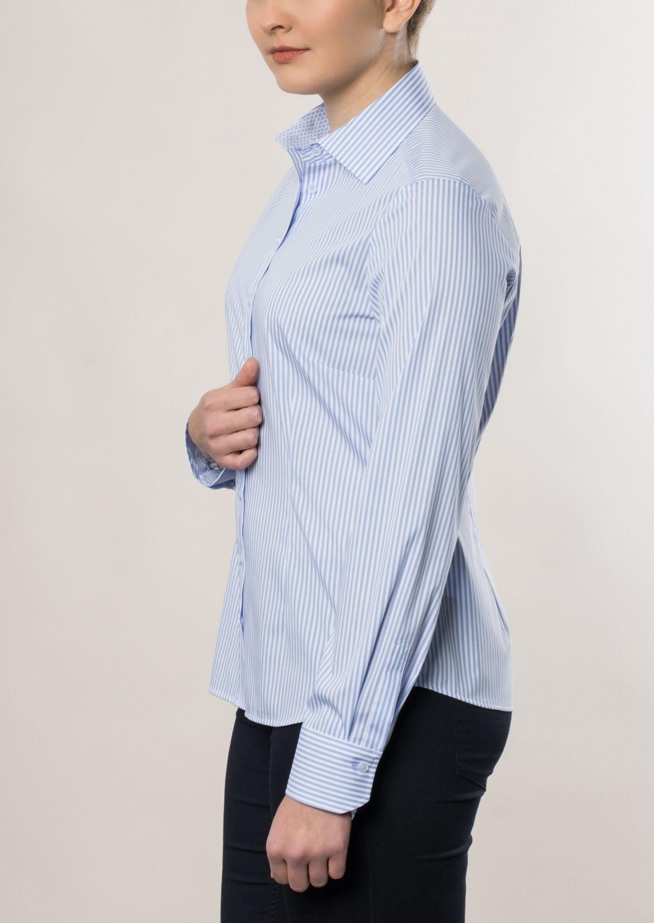Eterna -  Comfort-Fit - Damen Langarm Bluse in Dunkelblau/ Weiß gestreift  (6017 D390) – Bild 7