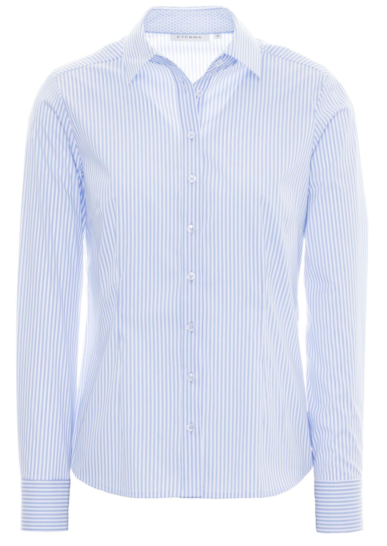 Eterna -  Comfort-Fit - Damen Langarm Bluse in Dunkelblau/ Weiß gestreift  (6017 D390) – Bild 1