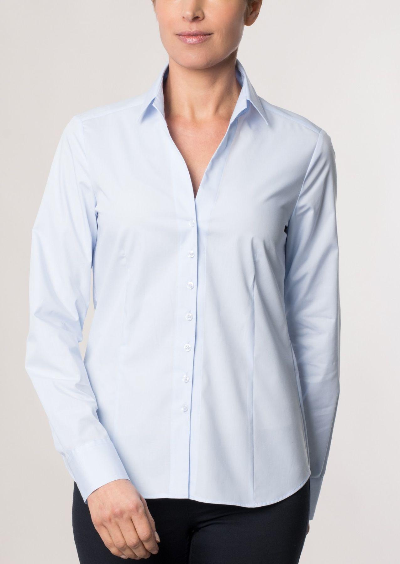 Eterna -  Comfort-Fit - Damen Langarm Bluse in Hellblau kariert  (5330 D661) – Bild 6