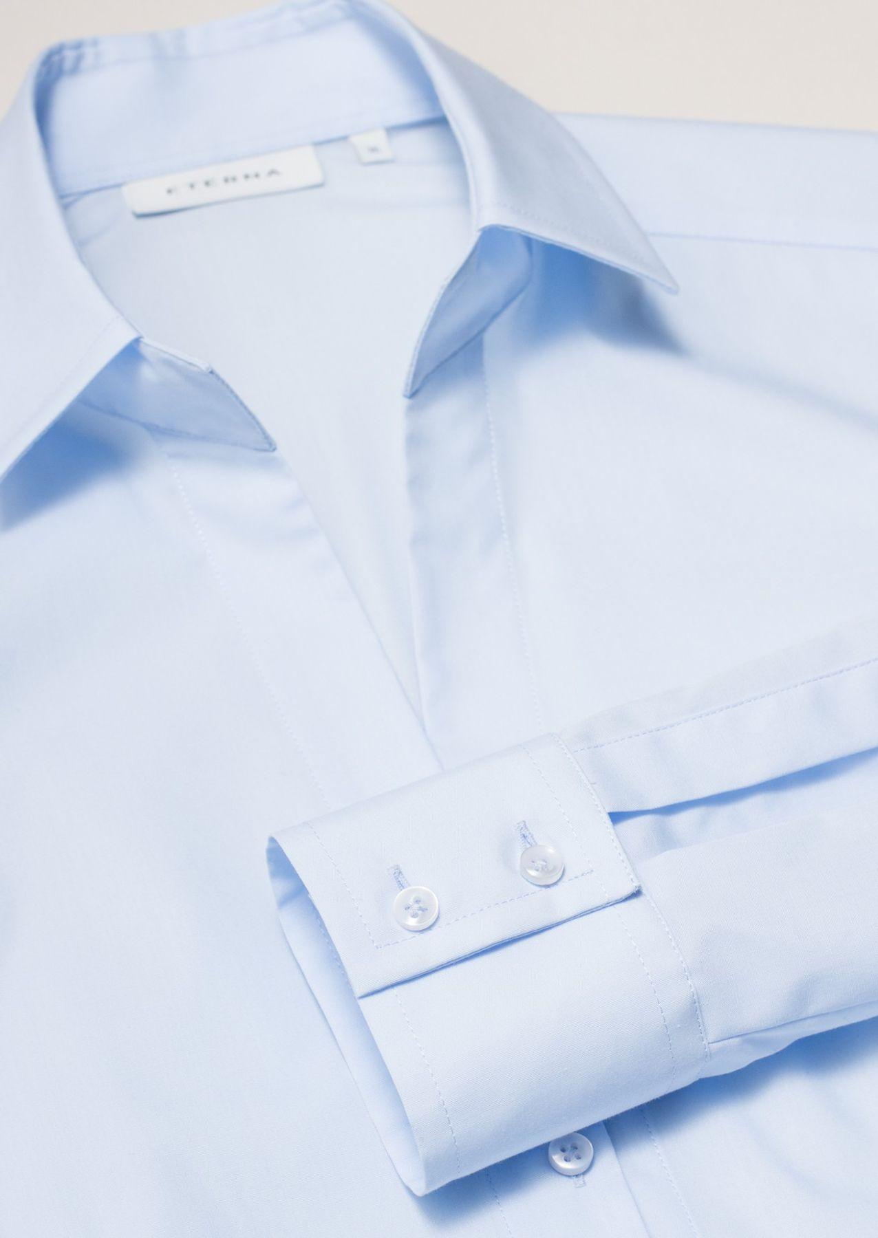Eterna -  Comfort-Fit - Damen Langarm Bluse in Hellblau kariert  (5330 D661) – Bild 8