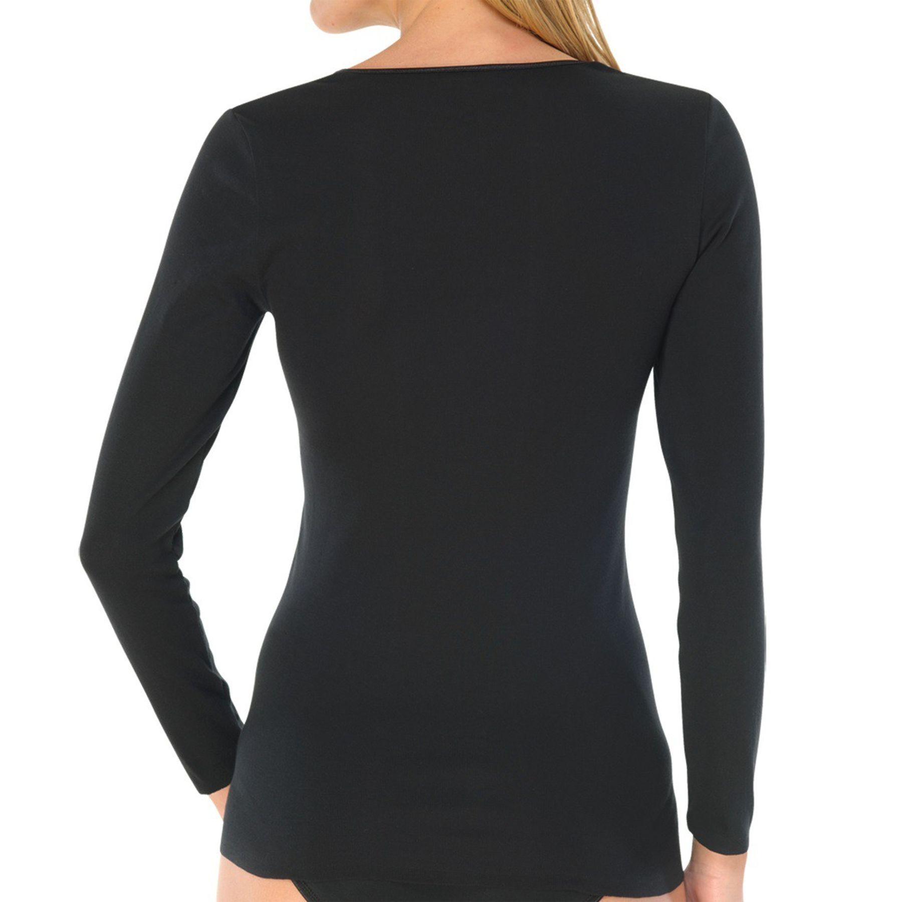 Schiesser - Damen Shirt langarm Feinripp rundhals Spenzer - Luxury (200765)  – Bild 2