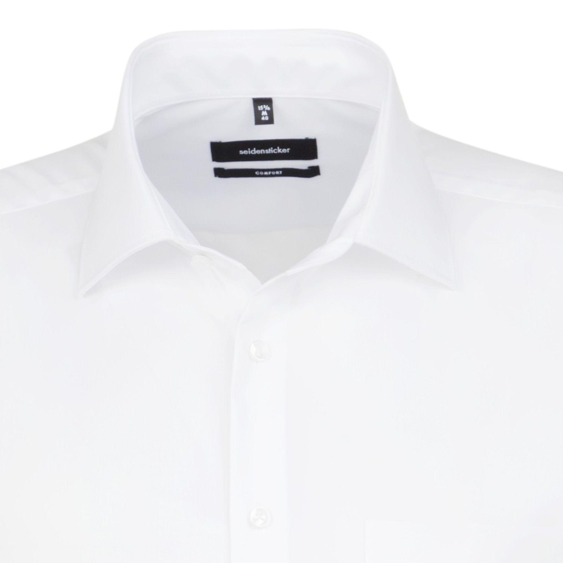 Seidensticker - Herren Hemd 1/2 Arm, Bügelfrei, Comfort, Schwarze Rose mit Kent Kragen in Weiß (01.312421) – Bild 4