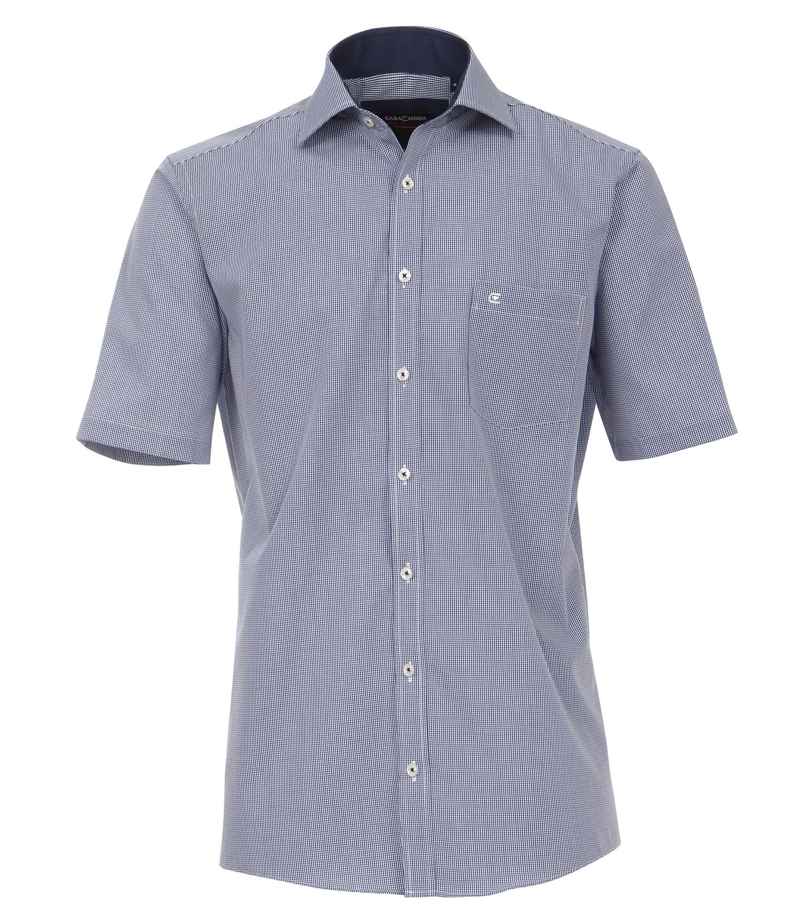 Casa Moda - Comfort Fit - Herren Karo Popeline 1/2-Arm Hemd mit Hai Kragen in Blau (008360) – Bild 5