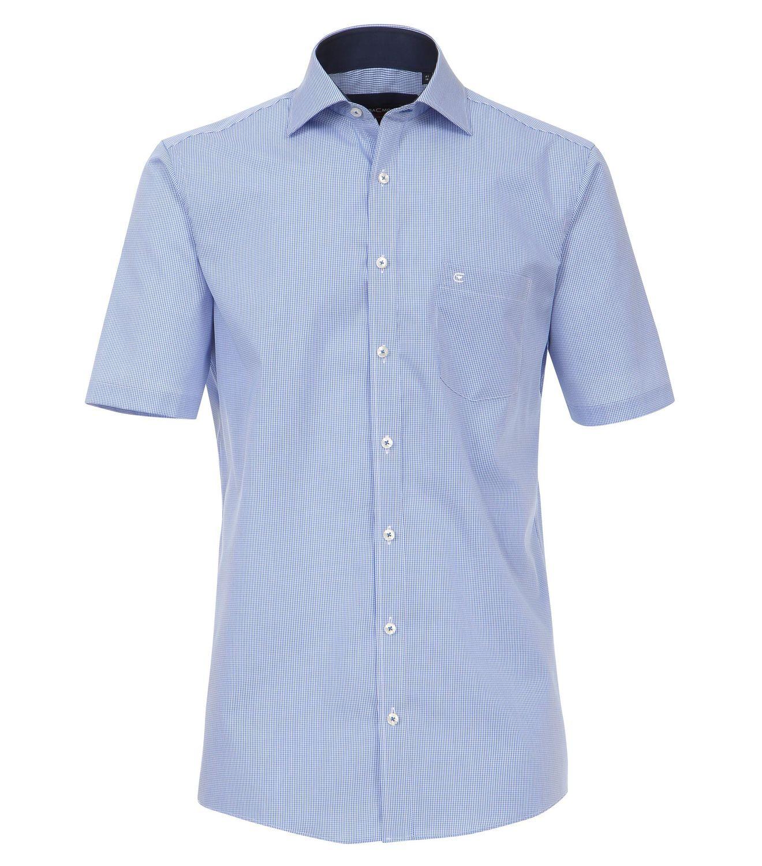 Casa Moda - Comfort Fit - Herren Karo Popeline 1/2-Arm Hemd mit Hai Kragen in Blau (008360)