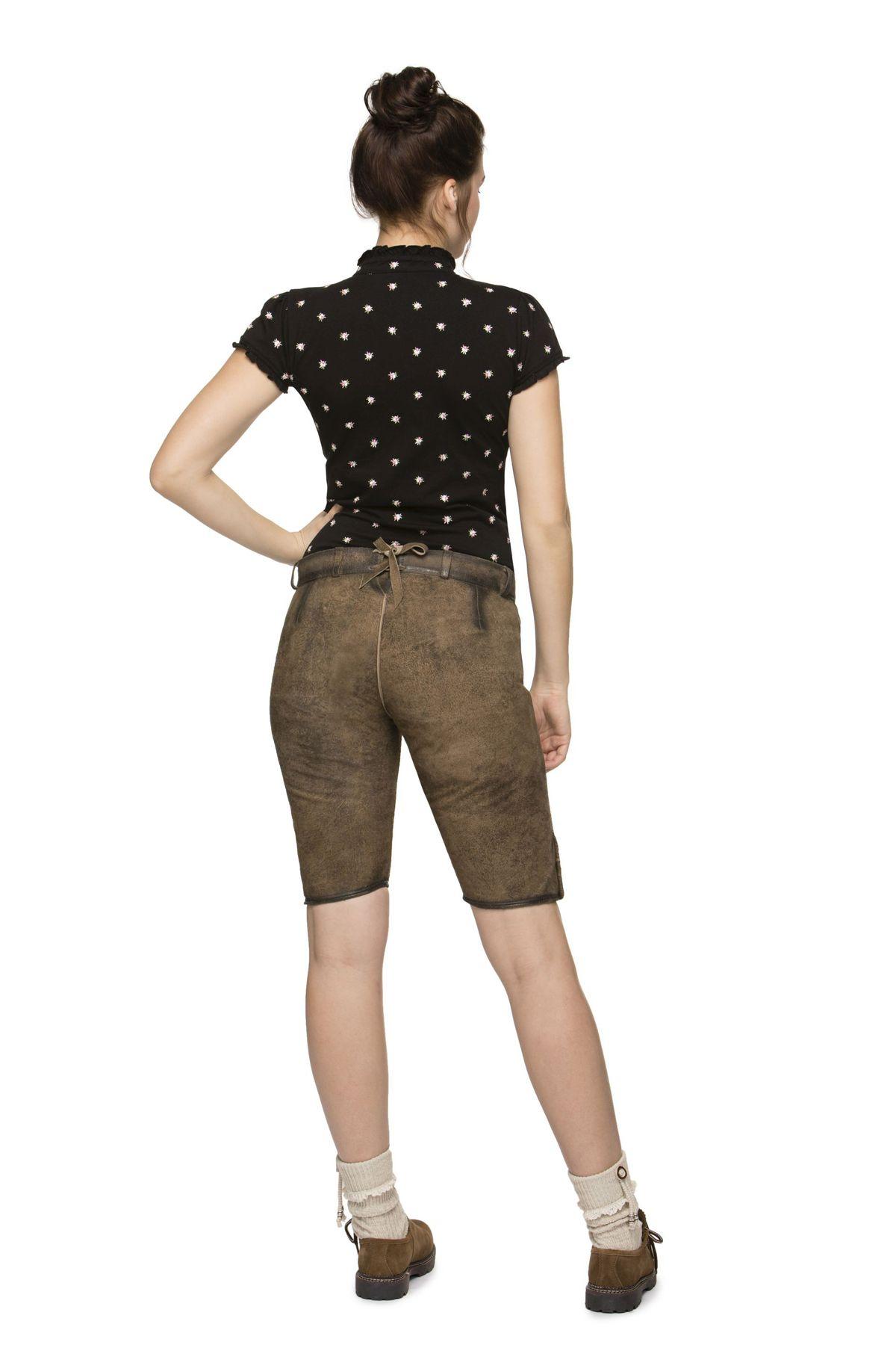 Stockerpoint - Damen Trachten Lederhose aus Ziegen Nappa Leder, Knielang, Piper – Bild 3